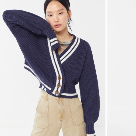 ba54d129a77c Urban Outfitters Sweaters | Blue Oversized Buttondown Cropped ...
